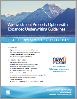 Glacier Investment Property Non-QM Loan Flyer